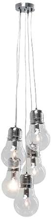Kare design - Suspension five bulbs transparent
