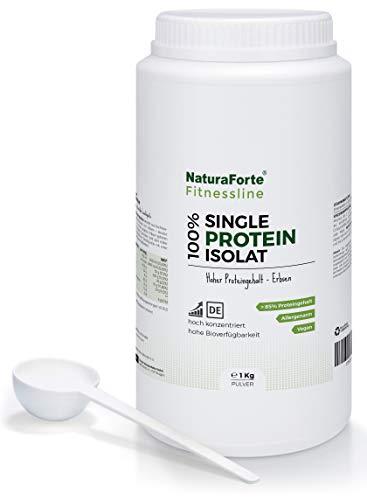 NaturaForte Reines Erbsen-Proteinpulver 1kg Neutral, 85-88{bcf25b40eec66eff9666bfc910aa562d0014771bfed740747be0da2b405da3c1} Eiweiss für Protein Shake im Shaker, Hochwertiges Low-Carb Eiweißpulver ohne jegliche Zusätze, Vegan Protein, Glutenfrei Laktosefrei