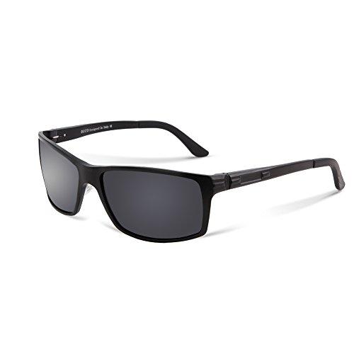 DUCO Neue Version polarisierte Sonnenbrillen Fahrergläser 9018 Schwarzen Rahmen Grau Linse