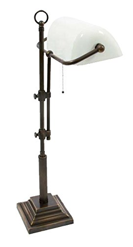 Bankerslampe Weiß 61-72cm Messing antik-handpatiniert (Altmessing), nicht eloxiert