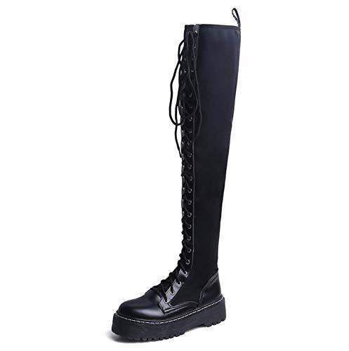 XIAHE Frauen High Heels Ms Over The Knie Stiefel Lange Stiefel Herbst Und Winter Neue Flachboden Mode Wilde Dünne Lycra Elastic Damenstiefel (Farbe : SCHWARZ, größe : 37)