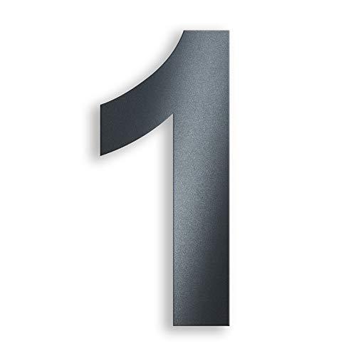 Metzler-Trade Hausnummer aus Edelstahl.- in Anthrazit RAL 7016 - Ziffern und Buchstaben möglich - aus witterungsbeständigen Materialien - robust und langlebig - Montage erfolgt über Steckdübel - Befestigungsmaterial im Lieferumfang enthalten - Höhe:14 cm. Modernes Design (1)