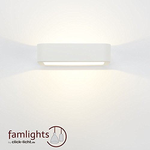 famlights   LED-Wandleuchte Maurice, aus Gips, weiß   Moderne Wandlampe für Wohnzimmer, Schlafzimmer, Esszimmer, Flur, Leuchte Lampe Rechteck rund Up Down überstreichbar