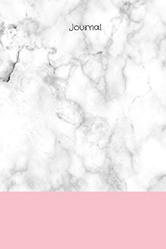Journal: White/grey marble background with pink band and black title, 120 page (60 sheet) 6
