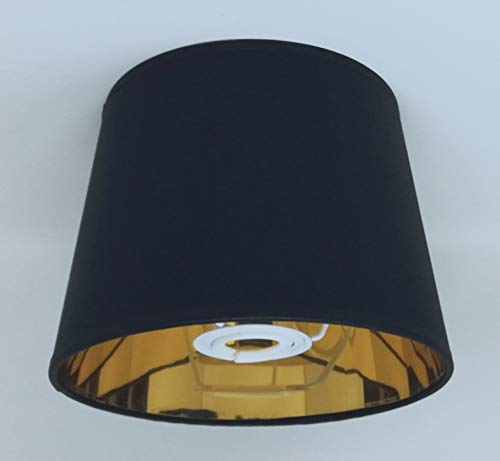20 cm schwarz Empire Lampenschirm Gold Futter Lampenschirm handgefertigt Tischlampe -