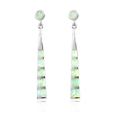 Dormith® women's 925 sterling silver synthetic white fire opal drop earrings