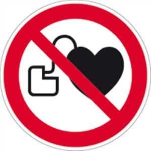 Kein Zutritt für Personen mit Herzschrittmachern oder implantierten Defibrillatoren 10cm Ø Folie gemäß ISO 7010, P007