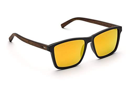 TAKE A SHOT - Holz-Sonnenbrille, Holz-Bügel, Kunststoff-Rahmen, 100% UV-Schutz, rückentspiegelte Gläser - Michel