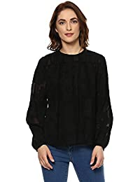 Ritu Kumar Women's Viscose Regular Fit Short Top(STPCVJQ00N15952500__Black)
