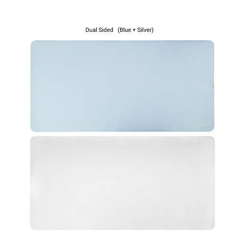 Öl 60 Gels (DM&FC Dual-Seite Verlängert Desk-pad-Protector, Pu Leder Mouse Pad Schreibtisch Blotter Gaming-schreiben Matte Mit Komfortabler Oberfläche Wasserdicht-blau + Silber 60x35cm(24x14inch))