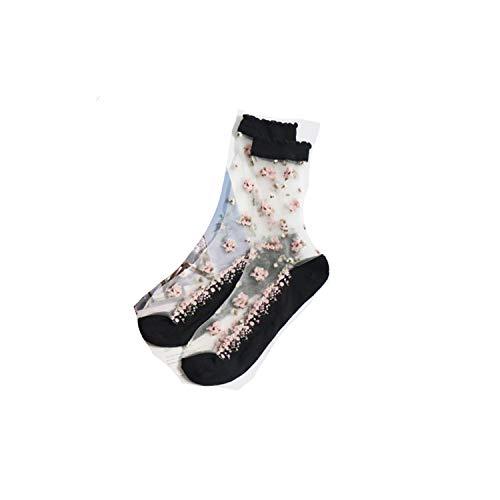 no problem Best seller Warme Socken für Frauen Herren dünne Socken transparent Spitze Seide Kristall Rose Blume Mädchen elastische kurze Socken Gr. One size, multi -