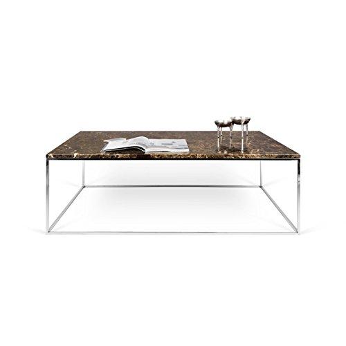 Paris Prix - Temahome - Table Basse Gleam 120cm Marbre Marron & Métal Chromé