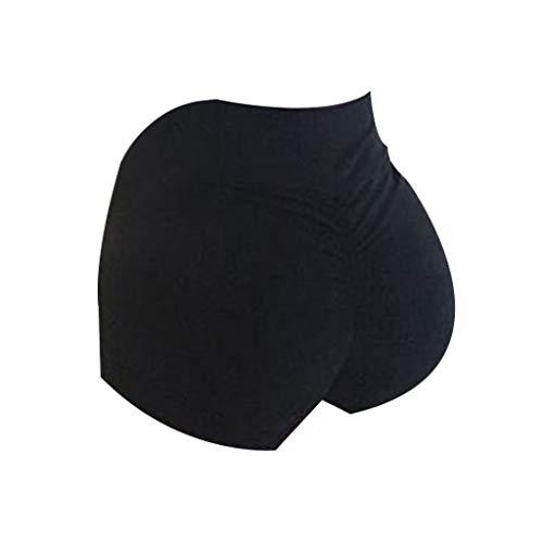 zrshygs Frauen Hohe Taille Zurück Geraffte Hüfte Heben Yoga Shorts Workout Stretch Gym Bottoms - Schwarz-XL - Bein Stretch Kord