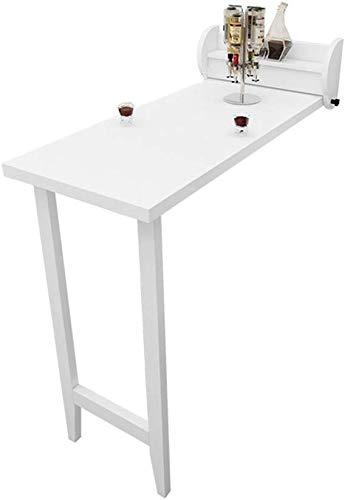 GEZHU Massivholz-Bar Tisch Tisch Klappwand Startseite Wohnzimmer High Table Esstisch Weiß Klapptisch Praktischer Klapptisch