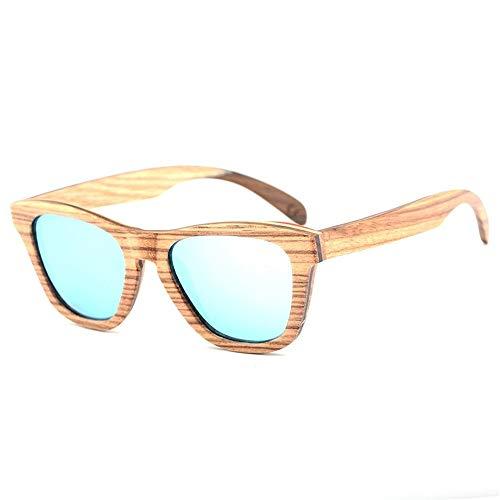 JIA-Sunglass Mode Handgefertigte Bunte Bambus Miroor Sonnenbrille Skateboard Holz Bambus Beine Sonnenbrille Vintage Retro Sonnenbrille for MES Womens Unisex Uv 400 (Color : Green)