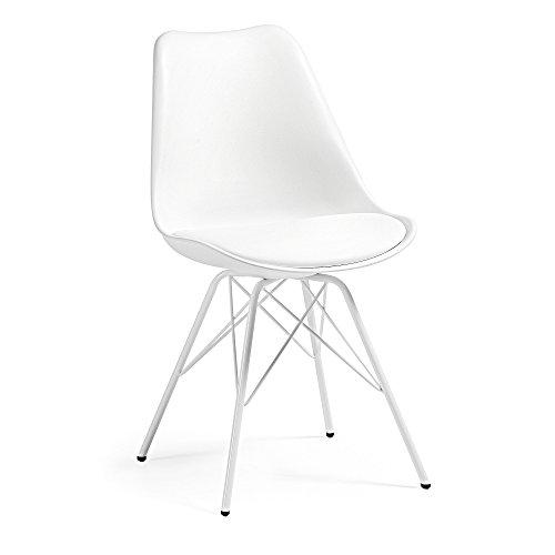 Kave Home Chaise Ralf avec Pieds en Acier, Blanc