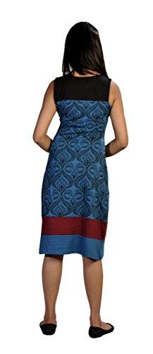 Mesdames robe sans manches été avec motif imprimé damassé et Patch design Bleu