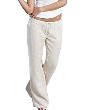 Aiweijia Pantalones Acampanados de Mujer Pantalones de Lino cómodos Suaves Pantalones Acampanados de Cintura Alta...