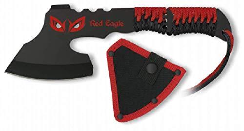 VIKING GEAR® robuste Wurfaxt in schwarz, rot + Kopftasche - Dead Pool Axt - Beil - Survival Gear - Tomahawk - schnelles werfen in der Apokalypse -