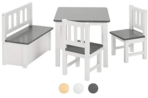 BOMI Kindermöbel Tisch und Stühle | Kindertruhenbank aus Kiefer Massiv Holz für Kleinkinder, Mädchen und Jungen Anthrazit -