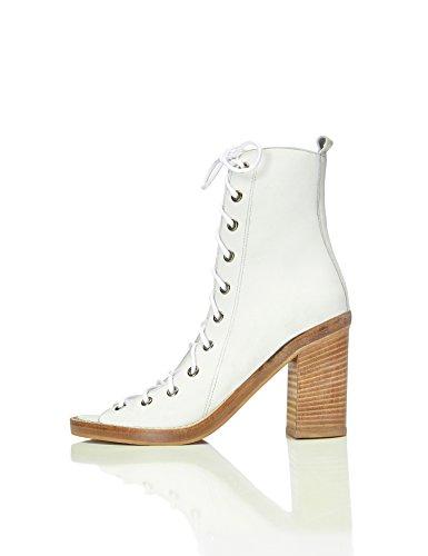 FIND Sandalen Damen mit Schnürung und Hohem Blockabsatz, Weiß (White), 36 EU