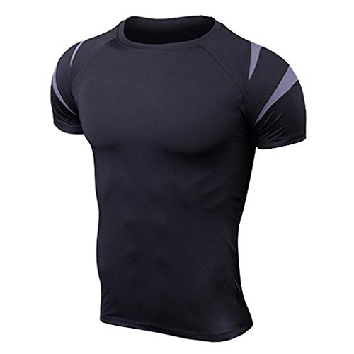 SANFASHION Herren Fitness Kurze Ärmel Rashguard T-Shirt Bodybuilding Haut Enge Trocknende Oberteile Quickdry Trainingsshirt