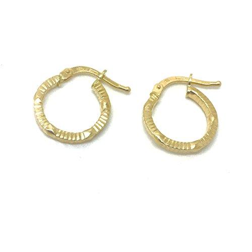 Kleine Gold Ohrringe Creolen aus 18 Karat / 750 Gelbgold (1.70 x 14 Ø mm) - PRI221