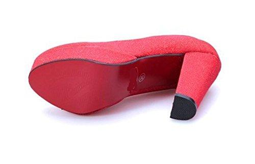 LDMB Matte flachen Mund dick mit Fersen hohe Schuhe rote Hochzeit Schuhe Braut Red