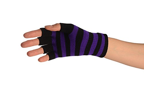 Purple & Black Stripes Short Fingerless Gloves – Purple Designer Gloves
