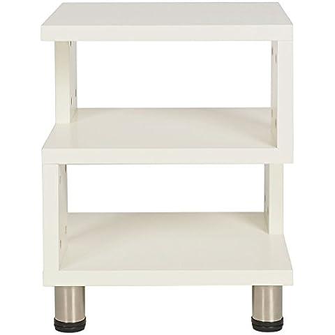 ts-ideen mesa auxiliar madera blanca mesa de noche mesita para el teléfono