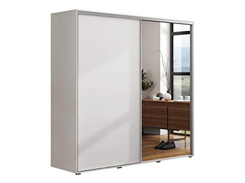 Mirjan24 Kleiderschrank Garni, Schwebetürenschrank mit Spiegel, Praktischer Schlafzimmerschrank, Elegantes Garderobe, Schlafzimmer, Diele Flur, Schiebetür (Weiß, Breite: 150 cm)