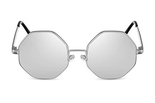 00ec1234c6 Cheapass Gafas de Sol Pequeñas Octagonal Silver Metal Frame con Lentes  Plateadas Espejadas protección UV400 Hombres