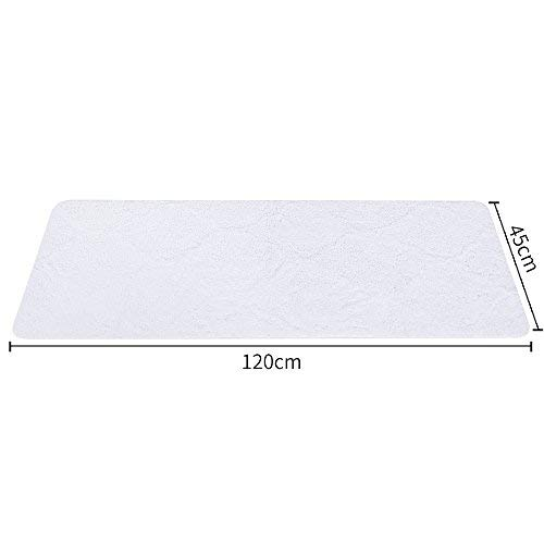 Laime Rutschfest Mikrofaser Bad Teppiche Extra Lange Maschinenwaschbar Weich Absorption Shag Badteppich (45,7x 119,4cm) weiß (Bad-teppich Extra Lang)
