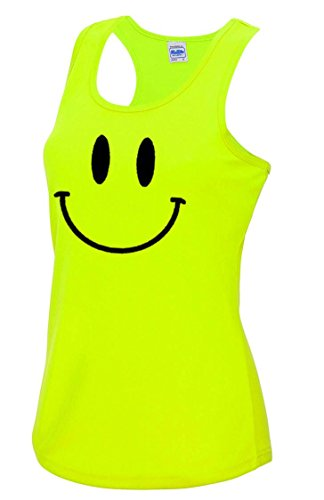 Smiley Face 90s Rave Acid Ladies Sports Vest in Neon Yellows. Sizes 10 to 16