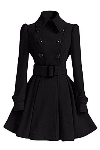 5 ALL Damen Frauen Mantel Kleider Elegant Winter Klassische Vintage Zweireihig Revers Schlack Trenchcoat Wollmantel Mantel Kleid Wintermantel Outwear Schwarz M