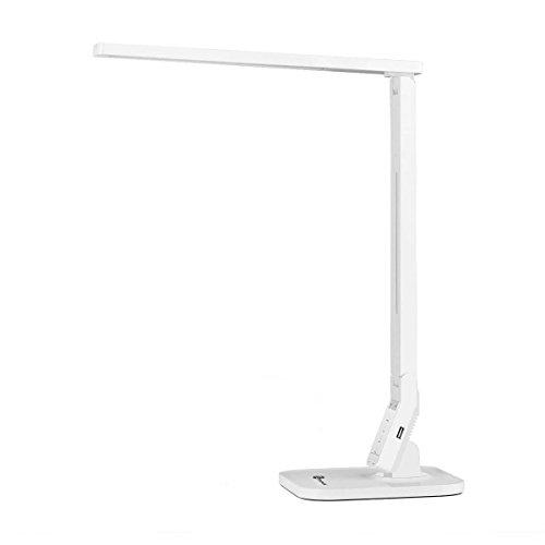Lámpara Escritorio Usb LED TaoTronics Flexo de Escritorio (14W, 4 Modos, 5 Niveles de Brillo, USB 5v/1A para cargar, Temporizador de 60min) para Leer, Estudiar, Cuidado de ojos, Color Blanco
