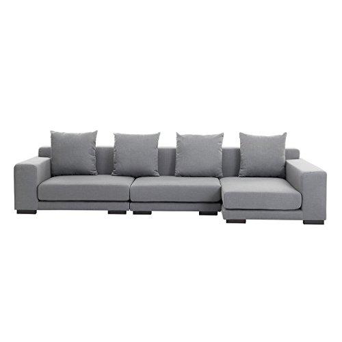 Canapé d'angle design - canapé en tissu gris clair - Cloud (G)