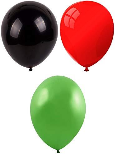 INERRA Globos - Pack of 75 Mezclado (25 X Negro & 25 X Rojo & 25 X Verde Lima ) Látex 10' For Helio o Aire