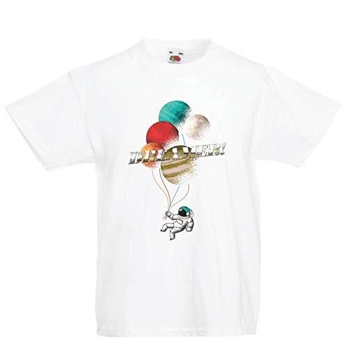 (lepni.me Kinder Jungen/Mädchen T-Shirt Der Träumer, Astronauten im Weltraum - Kosmische Regenbogenplaneten (9-11 Years Weiß Mehrfarben))