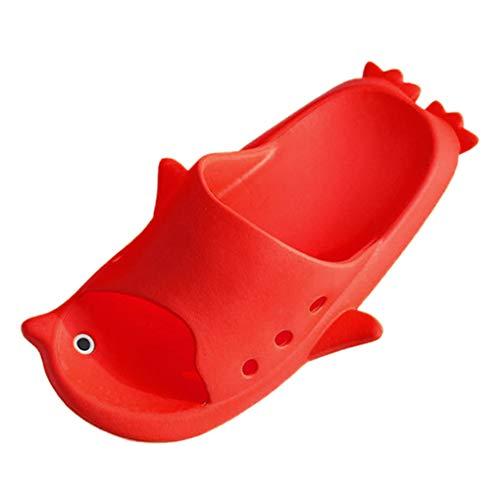 Dorical Cartoon Pinguin Aqua Dusch-& Badeschuhe Sommer Slide Hausschuhe für Kinder Männer Frauen Indoor Open-Toe Sandalen Ausverkauf(Rot,26-27 EU) -