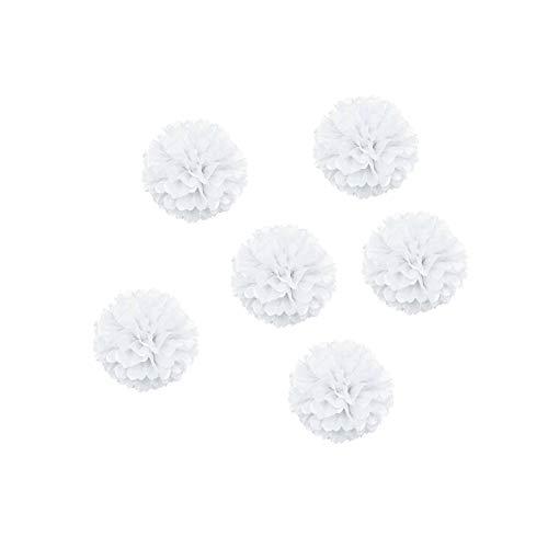 YaptheS DIY dekoratives Seidenpapier Blumen-Kugel-Papierlaternen Perfekt für Party Hochzeit Startseite Außendekoration Weiß 6 Inch 6pcs