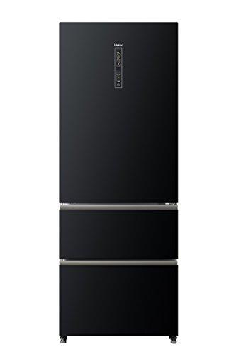 Haier A3FE742CGBJ Kühl-Gefrier-Kombination / A++ / 190.0 cm Höhe / 70 cm Breite / 313 kWh/Jahr / 283 L Kühlteil davon 24 MyZone / 129 L Gefrierteil / Innovative Gefrierschubladen / hochwertige Glasfront in Schwarz