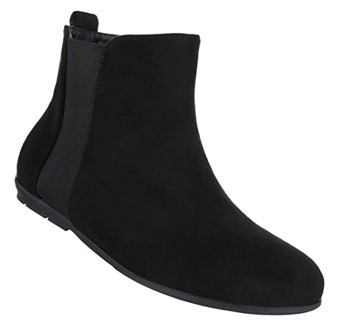 Damen Stiefeletten Schuhe Kurzschaft Chelsea Boots Schwarz 40 Y3t4RgFAKT
