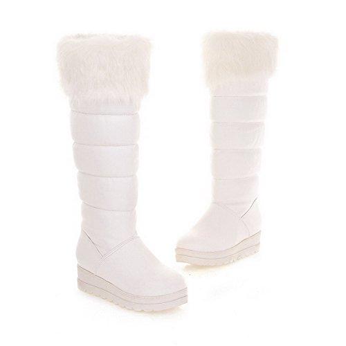 BalaMasa da donna basso tacco mid Calf Solid PU Stivali da neve White