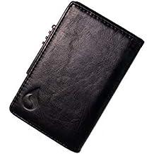 Tarjetero RFID Cartera Inteligente Cuero y Aluminio, Porta Tarjetas crédito Pequeña Cómoda Bolsillos Pop up
