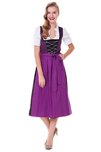 Alpenmärchen 3tlg. Dirndl-Set - Trachtenkleid, Bluse, Schürze, Gr. 34-60, lila-schwarz - ALM1002L, Größe:46