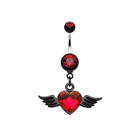 Piercing Nombril Pendentif CZ Cœur et Ailes Rouge et Noir Collection Prestige