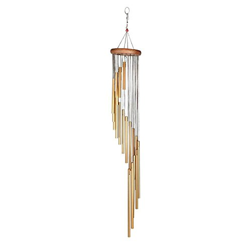 Arteki Long Wind Chimes,Amazing Grace Wind Chimes with 18 Frosted Tubes and Wood Design Home Decoration for Indoor Outdoor Patio Lawn Garden Balcony Porch Backyard Amazing (Gold)
