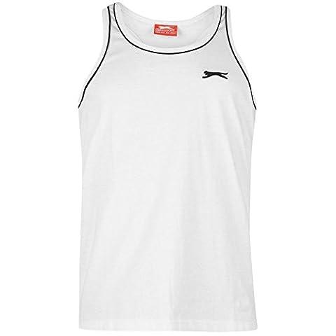 Slazenger Mens Muscle Vest Tank Crop Top Crew Neck Sleeveless Clothing White XXXL