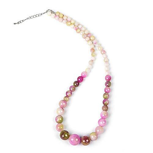 Lan Ou Halskette Konzentrieren Sie Sich Auf Hellrosa Süßigkeiten Transparenten Edelstein Doppelte Farbe Und Es Gibt Perlen Große Und Kleine Jasper Halskette Langsam Mädchen Herz (Kleine Mädchen Birthstone Halsketten)
